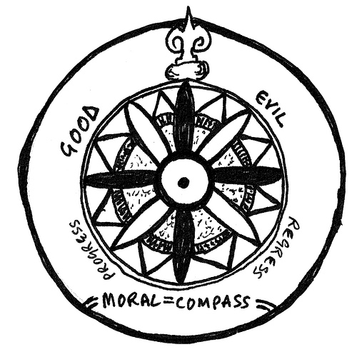 "A ""moral"" compass with good, evil, progress and regress as it's four points"