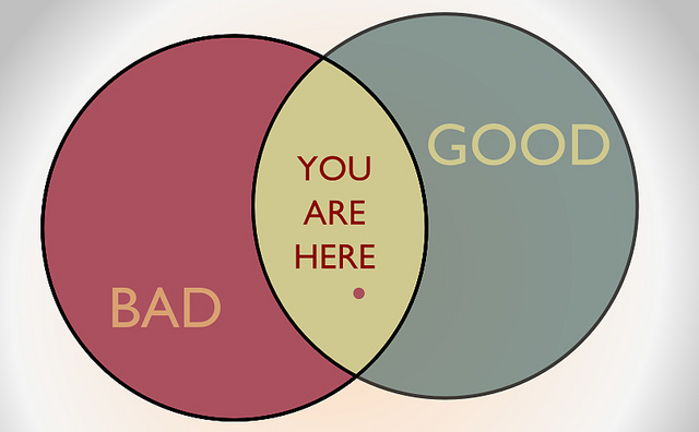 "Two intersecting circles - one red with the word ""bad"" written on it and the other a grey green with the word ""good"" on it. The point at which they overlap is yellow and has a red dot with the words ""You are here"" on it."